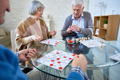 group of seniors playing board games